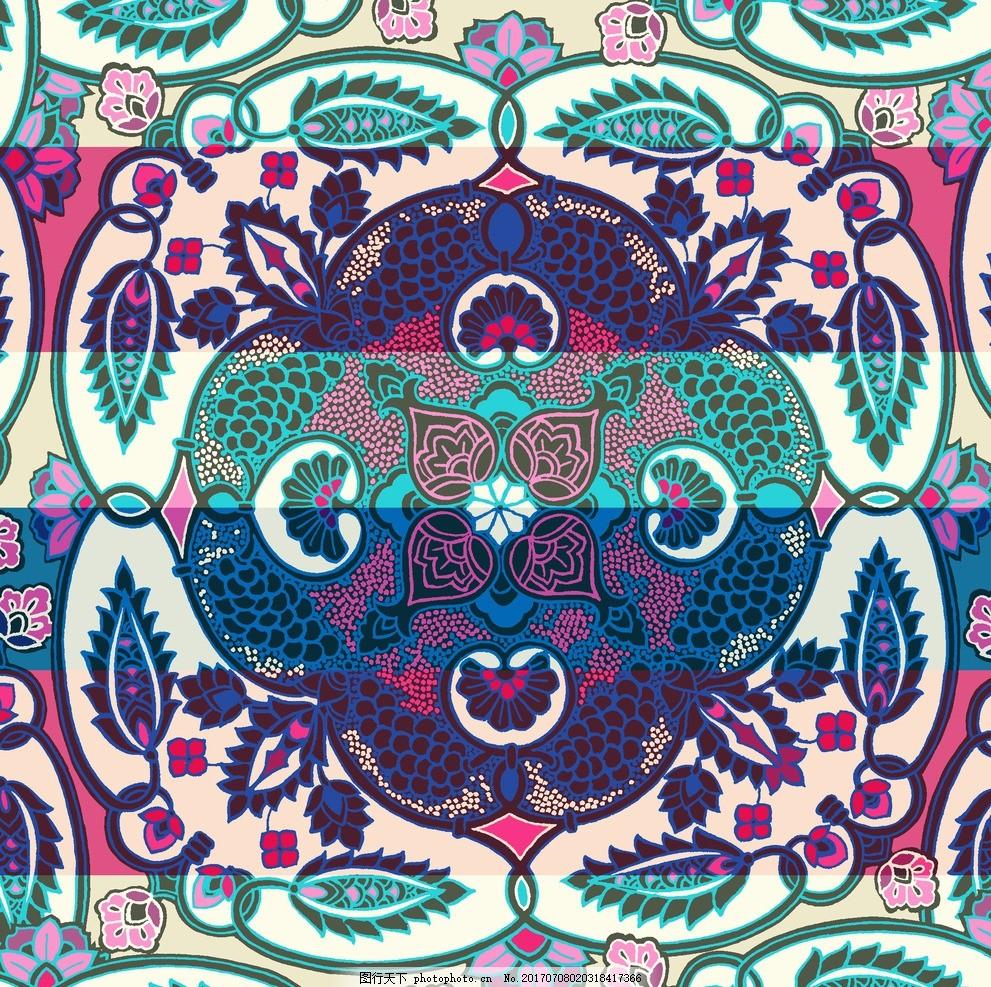 佩斯利 民族服装图案 丝巾印花 方巾图案 民族几何 几何图案 花卉图片