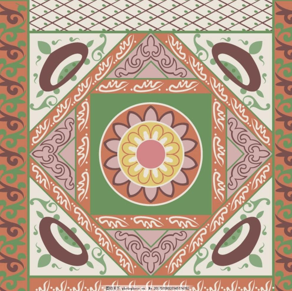 抽象丝巾图案 设计 丝巾印花 方巾图案 民族几何花卉 几何图案