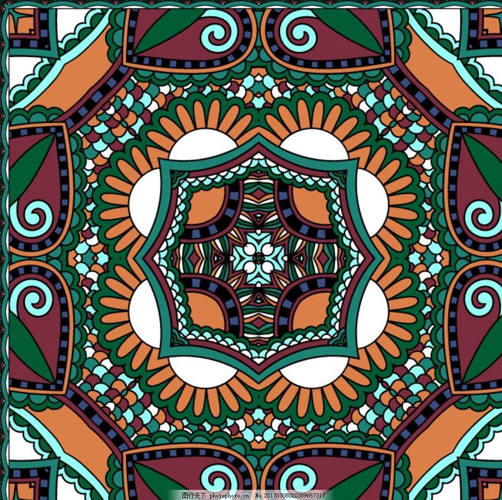 抽象民族图案 方巾设计 丝巾印花 方巾图案 民族几何 几何图案图片