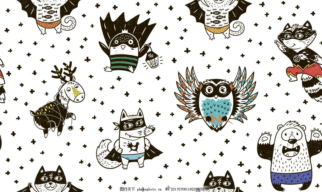 可爱手绘卡通动物填充纹理造型矢量图 小浣熊 鹦鹉 小熊 黑白 蓝色