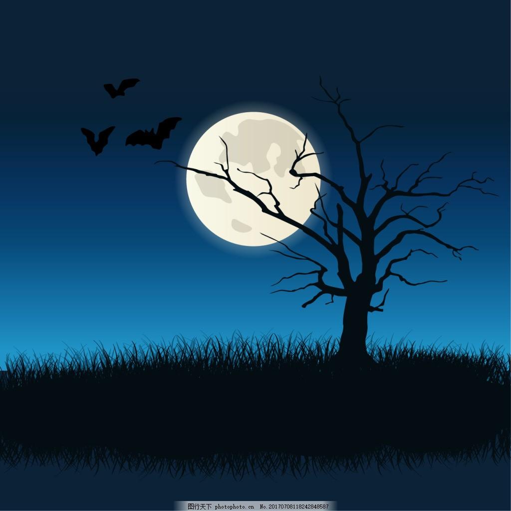 广告设计模板 ai素材 万圣节海报 万圣节素材 恐怖 万圣节 枯树 月亮