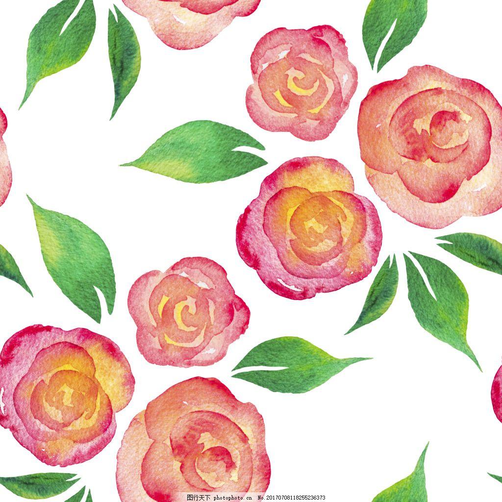 粉红色可爱浪漫手绘矢量素材 粉红色 手绘 水彩 花朵 小清新 填充