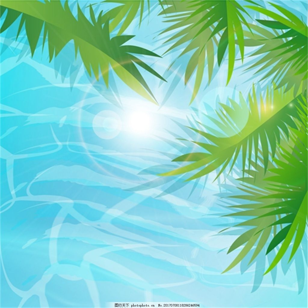 树叶 创意 小清新 卡通 填充 插画 背景 海报      包装 印刷 夏天