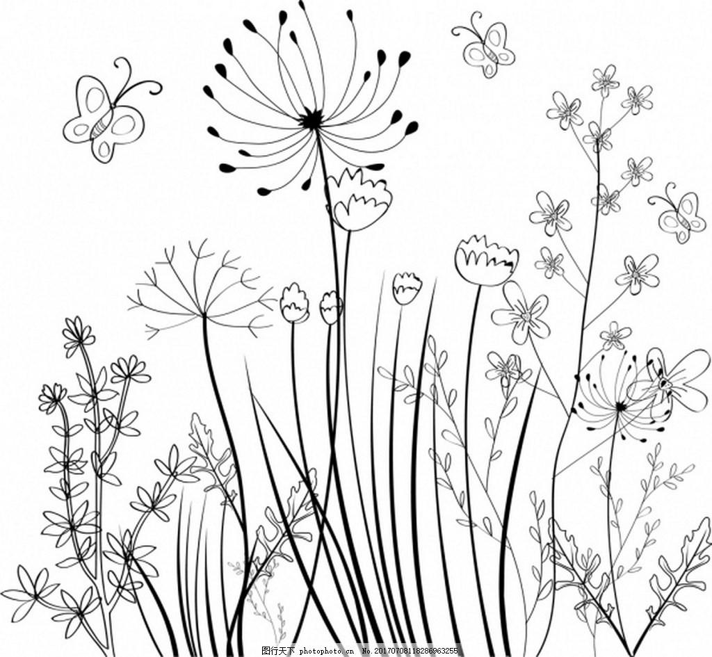 野生花卉场背景黑白素描免费矢量 花朵 植物 黑白植物 蝴蝶 矢量背景