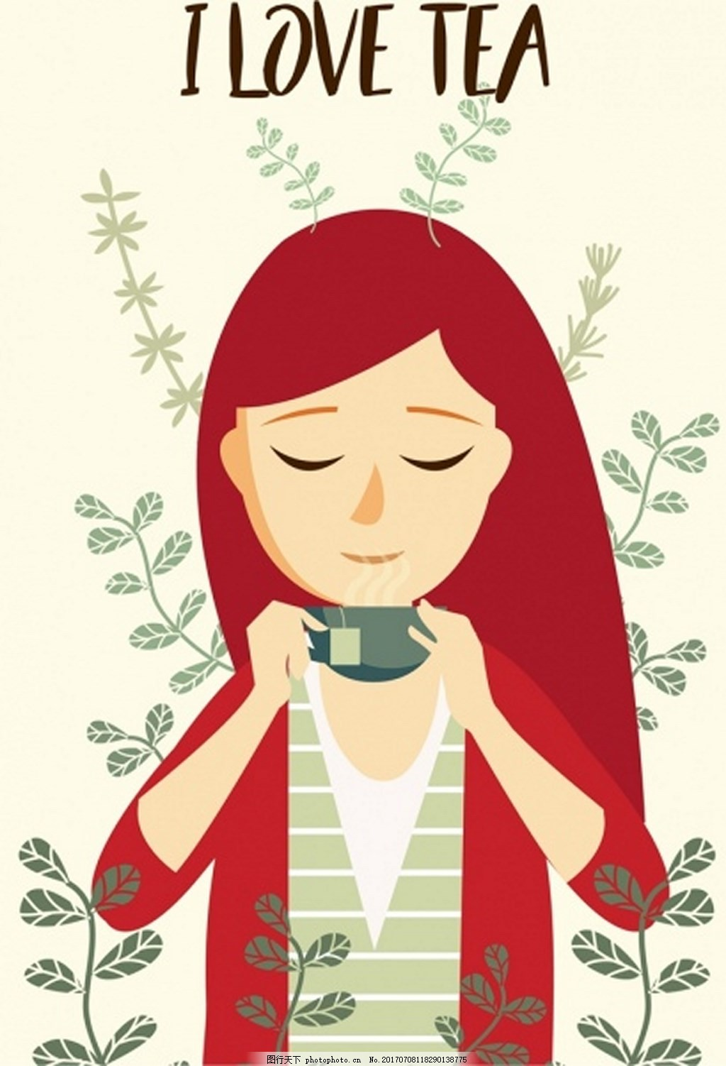 饮用茶广告女性图标动画设计免费矢量 美女 女人 品茶女人 喝茶 茶杯