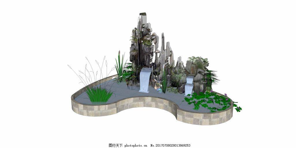 假山跌水效果图 家居建筑 建筑效果图 空间设计 创意建筑 休闲建筑