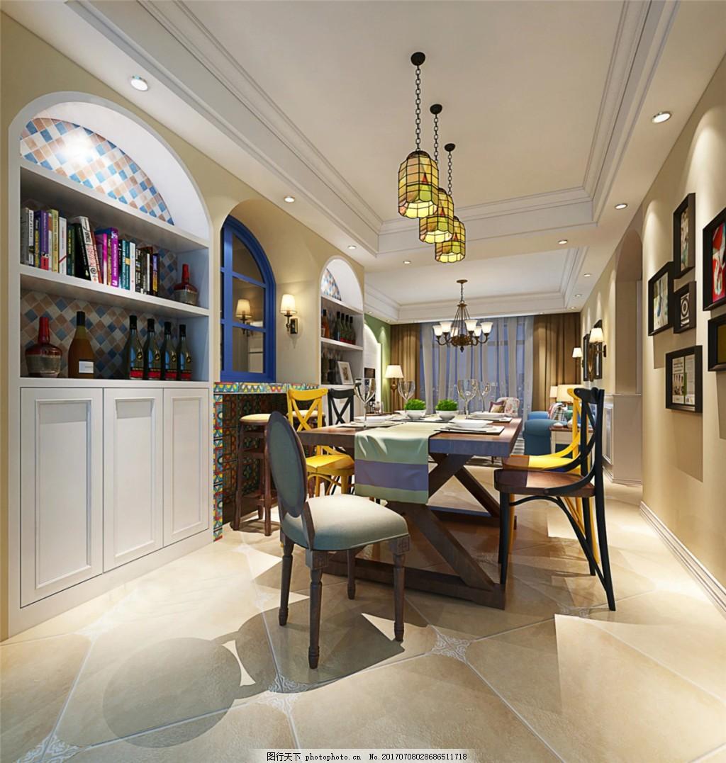 现代美式餐厅装修效果图 室内设计效果图免费下载 设计素材 图片素材