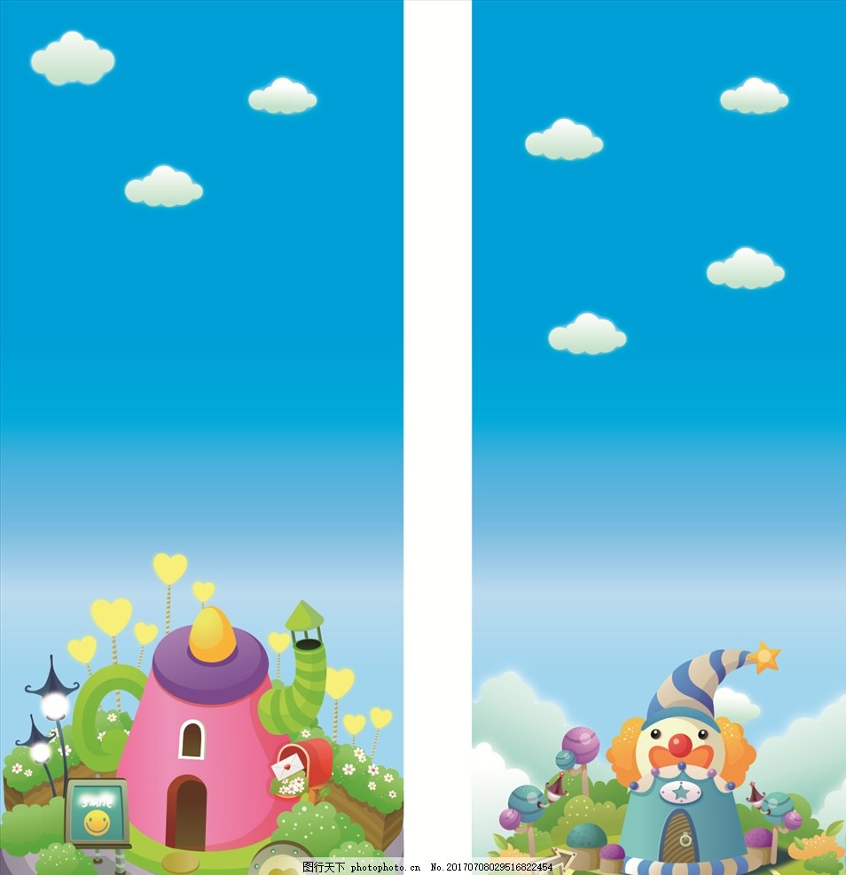 游乐园门票 游乐园广告 淘气堡 游乐园开业 宝贝 卡通人物 彩虹 城堡