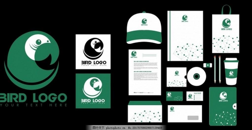 绿色vi设计矢量背景 本子 购物 购物袋 手提袋 光盘 帽子 信封
