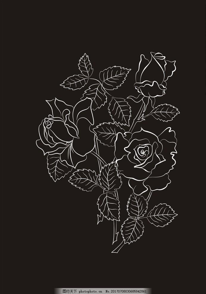 手绘线描花朵花卉矢量图下载