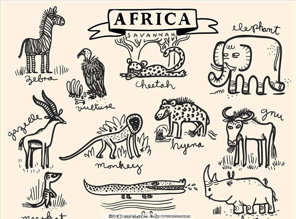 手绘涂鸦卡通动物矢量图下载