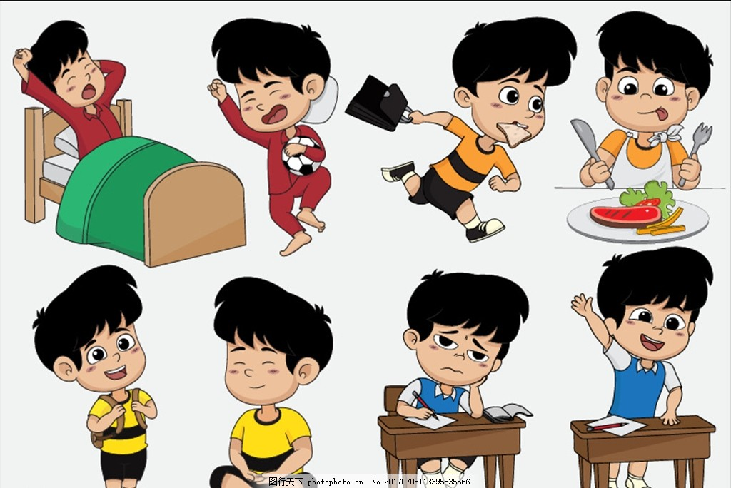 打坐 上课 举手 学习 小学生 日常生活 卡通儿童 卡通小男孩 小朋友图片