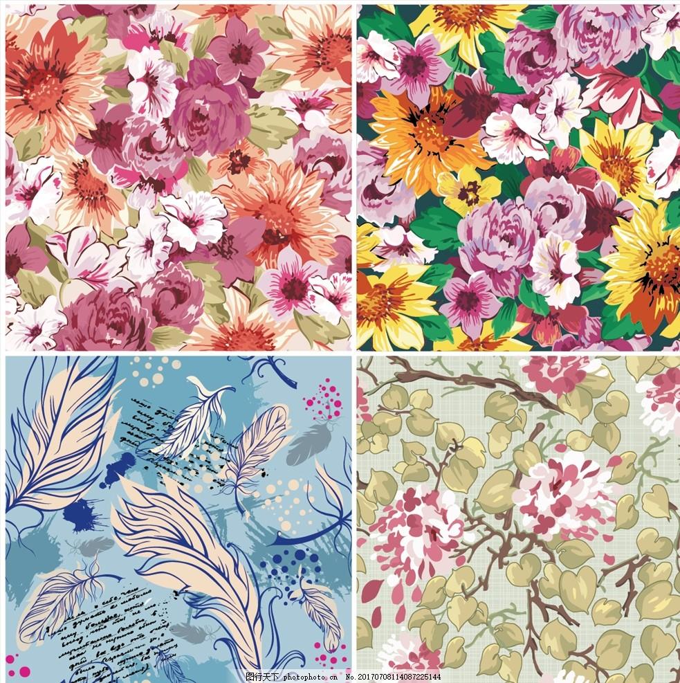 唯美手绘时尚花卉背景 家纺四件套 欧式花纹 四方连续 定位印花 面料