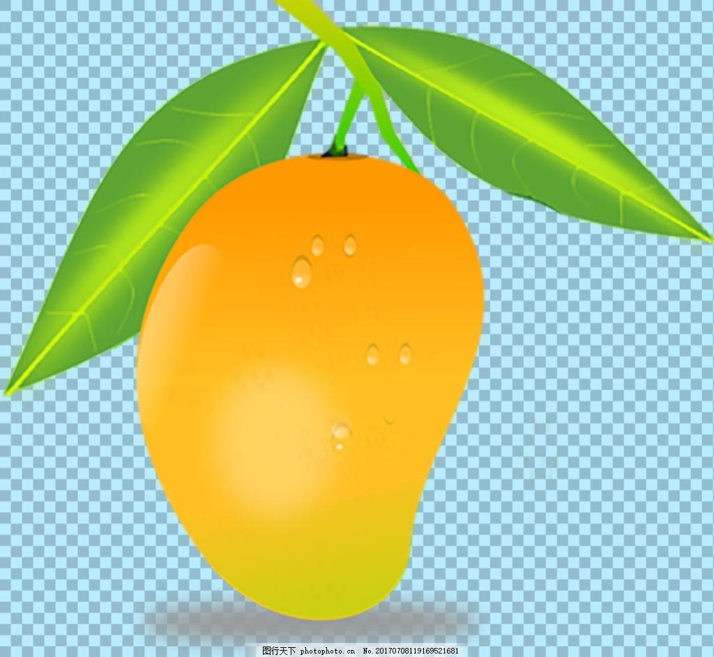 手绘写实带叶子芒果免抠png透明图层素材
