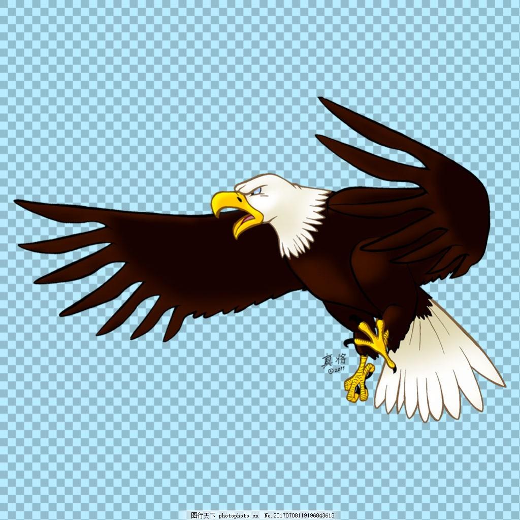 手绘卡通老鹰图片免抠png透明图层素材 家禽动物 可爱动物图片 家禽