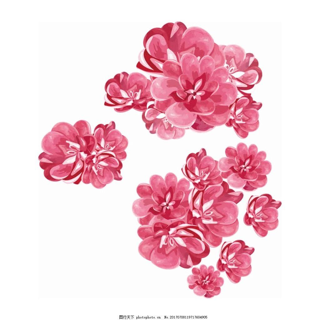 手绘粉色花朵元素 手绘 水墨 粉色花朵 花瓣 png 免抠 素材 png