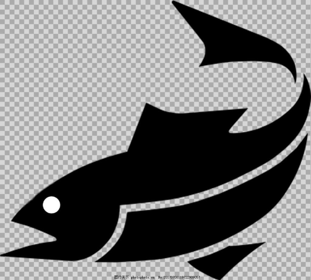 抽象黑色鱼类剪影免抠png透明图层素材 鱼类动物 可爱动物图片