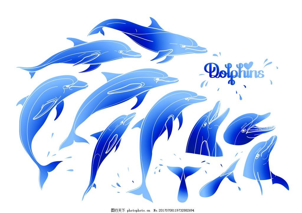蓝色渐变夏日海豚矢量素材 浪漫 动物 创意 涂鸦 小清新 卡通