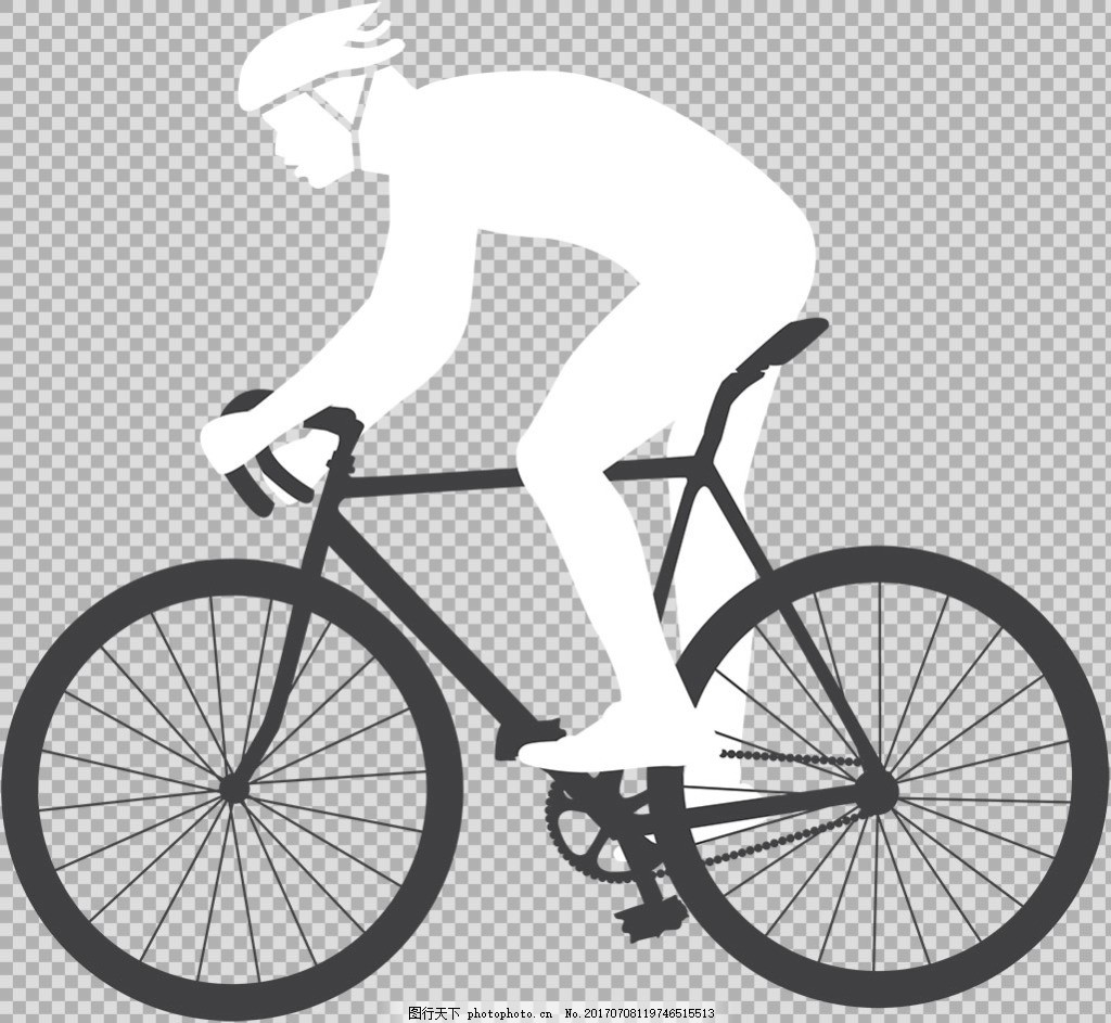 黑白骑自行车剪影免抠png透明图层素材