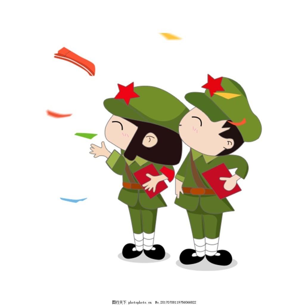 手绘卡通人物元素 小学生 绿色 军装