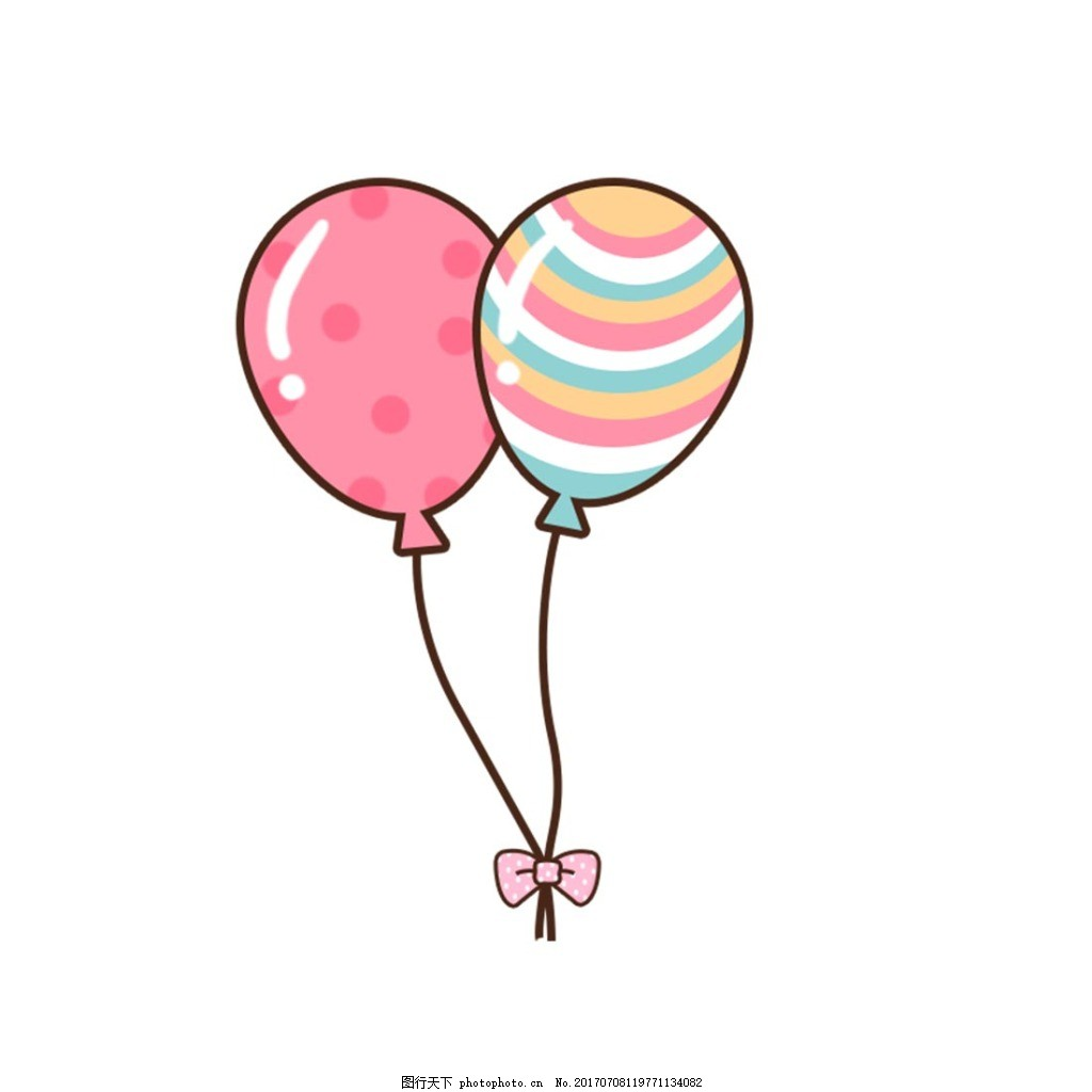 清新彩色气球元素 手绘 卡通 蝴蝶结