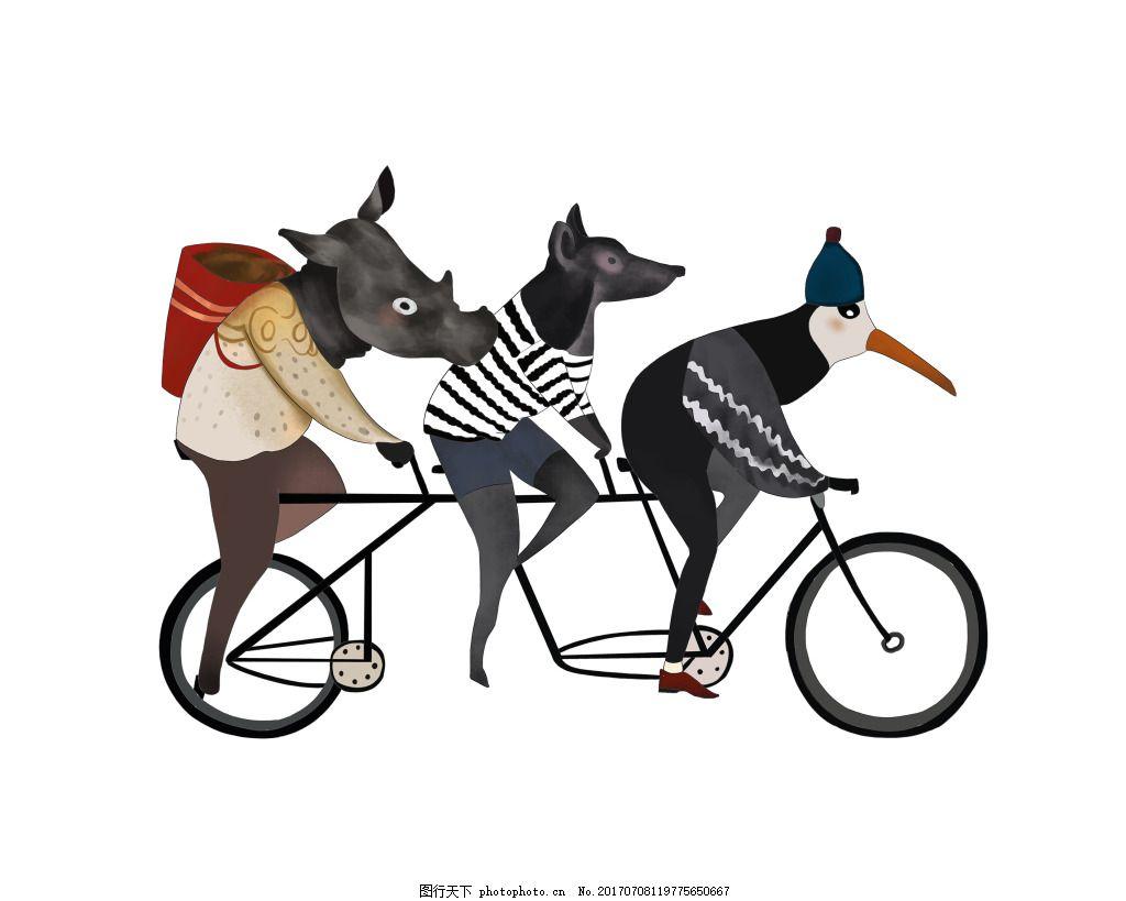 动物 骑行 自行车 运动 河马 企鹅 狗 手绘 插画 装饰风格 民族风