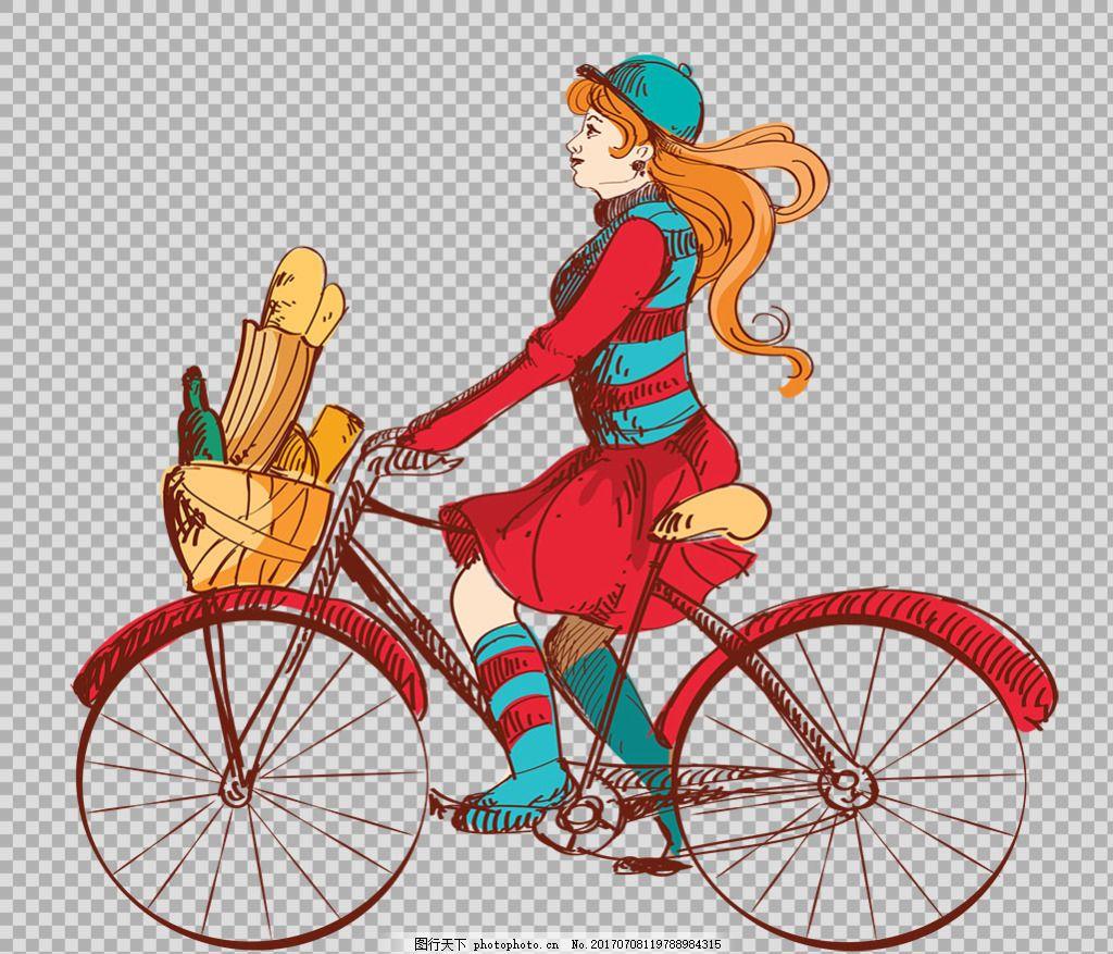 手绘女孩骑自行车插画免抠png透明素材 自行车 共享单车 女式单车