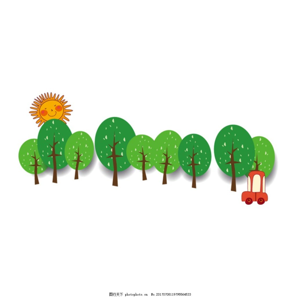手绘卡通小树汽车元素 手绘 卡通 绿色 大树 太阳 汽车 道路 元素