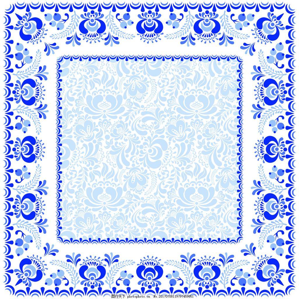 方形蓝色花纹青花纹餐具餐盘