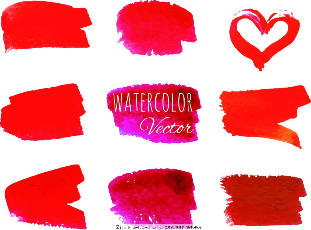 红色爱心笔触手绘水彩爱心矢量