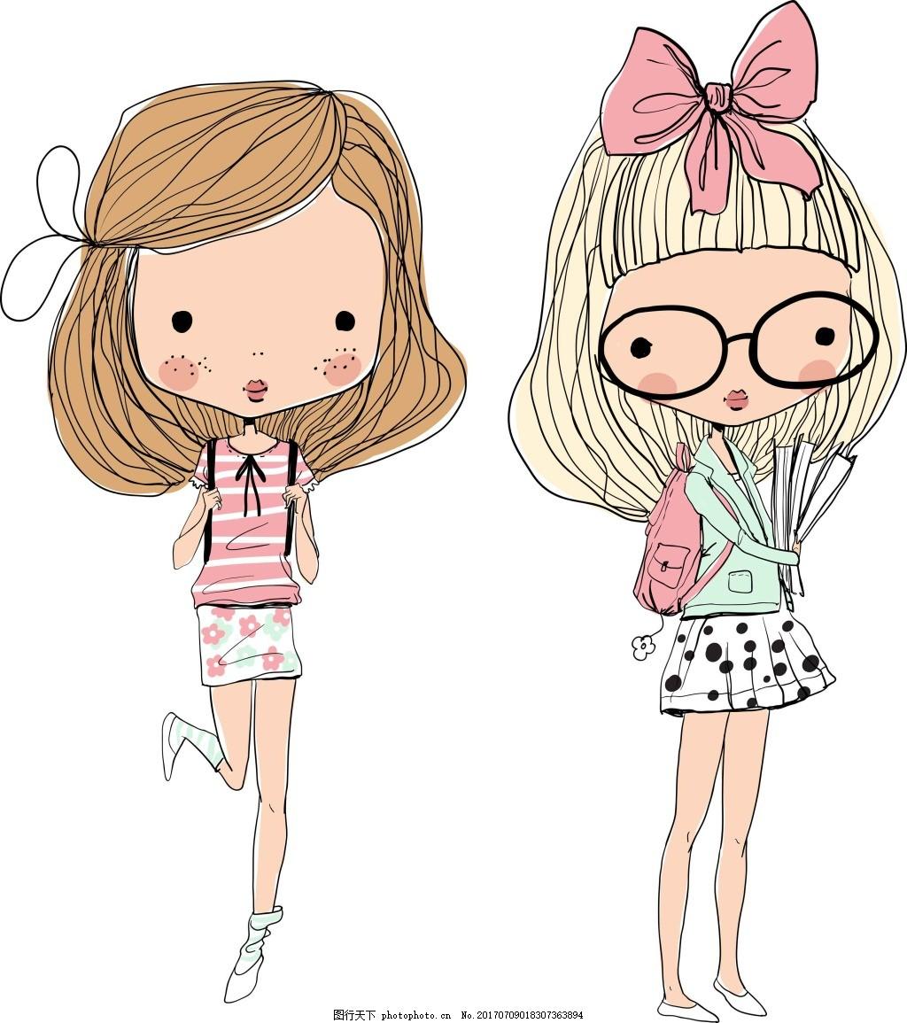 可爱的卡通手绘人物插画 女生 可爱 插画 人物 蝴蝶结 简笔画 眼镜