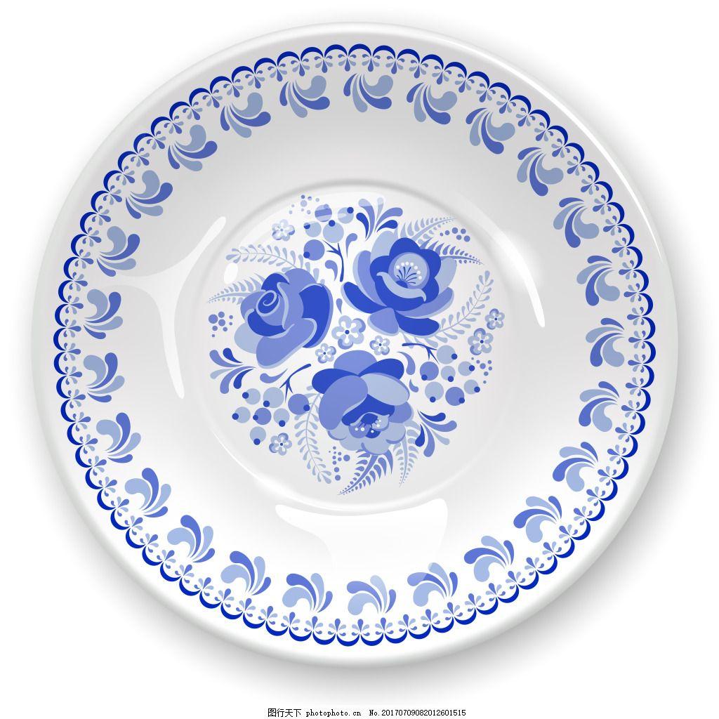 青花瓷艺术盘子插画