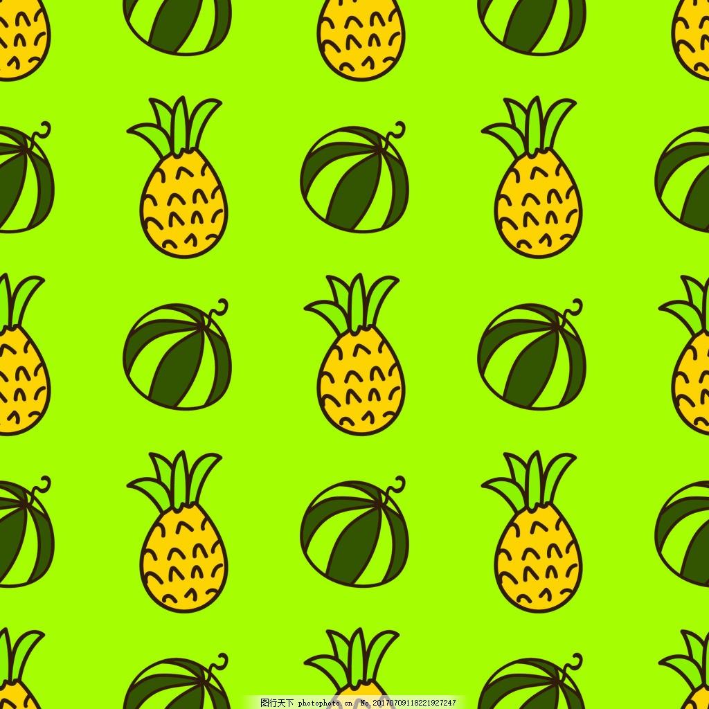 西瓜菠萝手绘纹理图案矢量