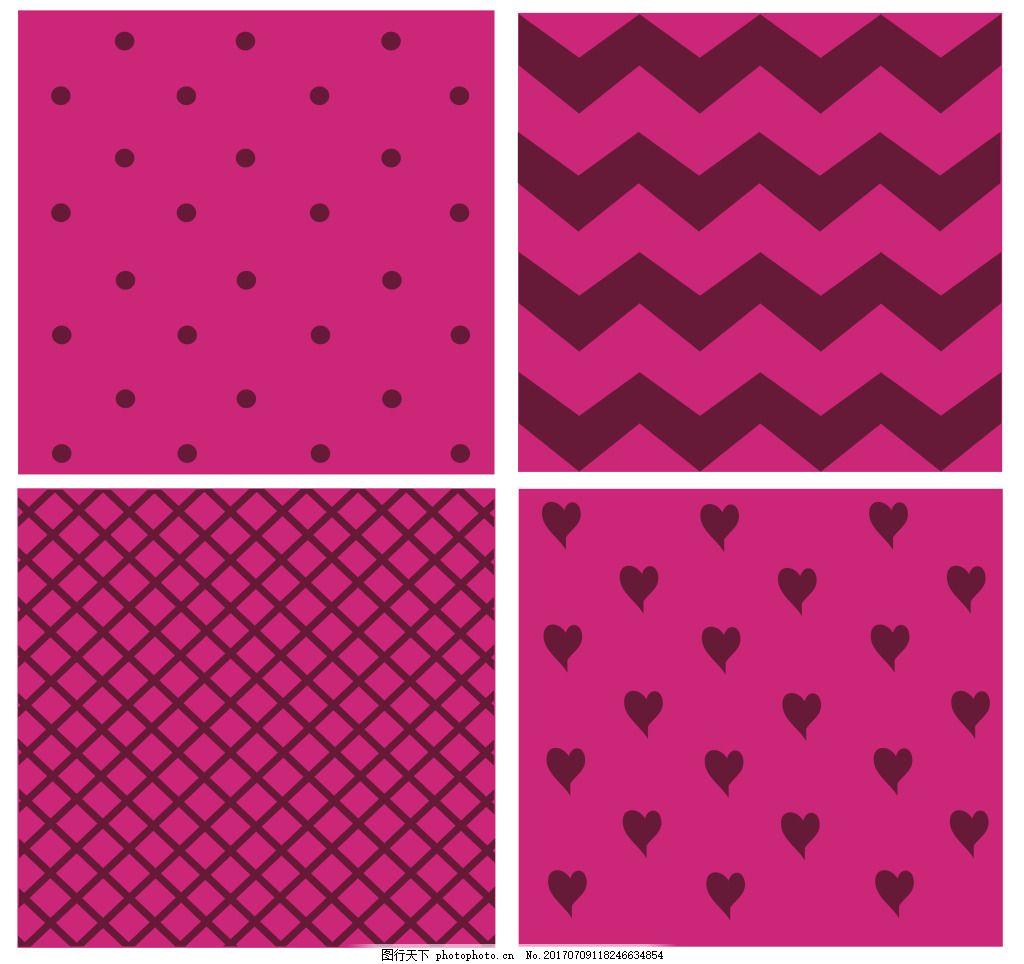 粉色背景纹理矢量素材 波纹 网格 填充 爱心 爱情 白色 卡通