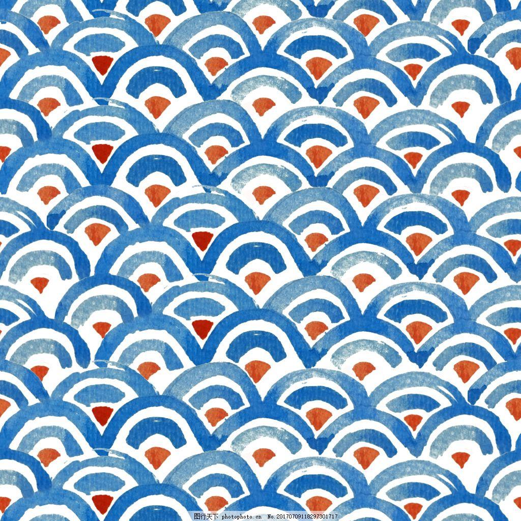 海水背景图矢量设计素材 波浪 花纹 水彩 夏天 夏日 插画 小清新 矢量