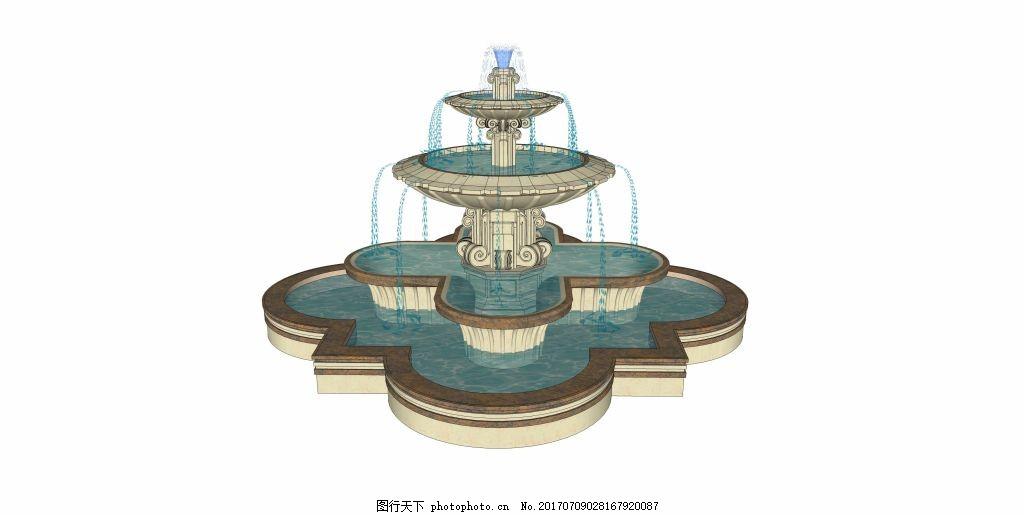 花式喷泉效果图,家居建筑 建筑效果图 空间设计 创意