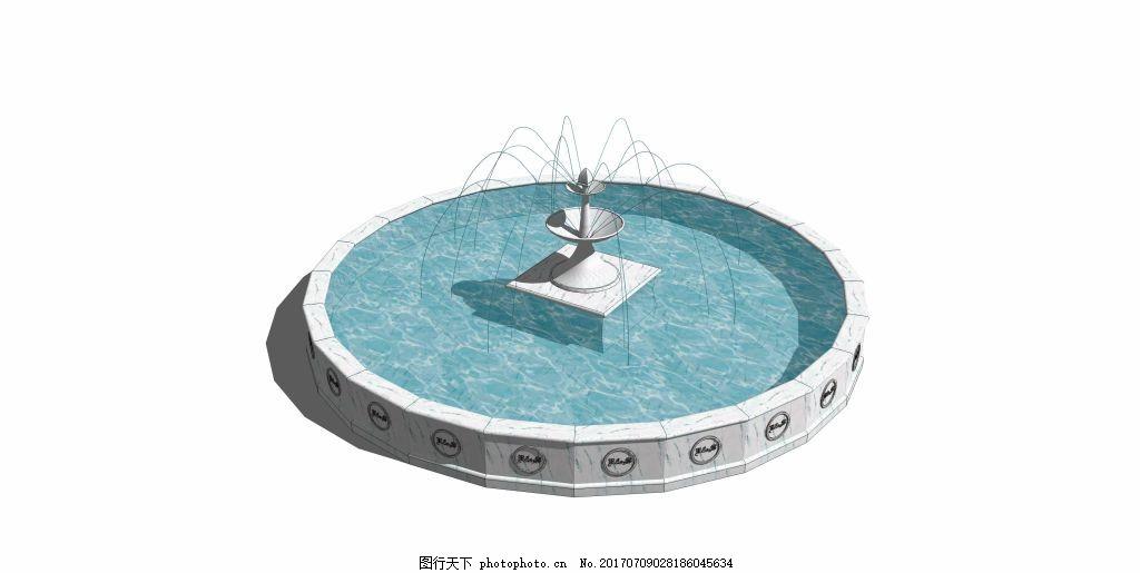 圆形水池喷泉效果图