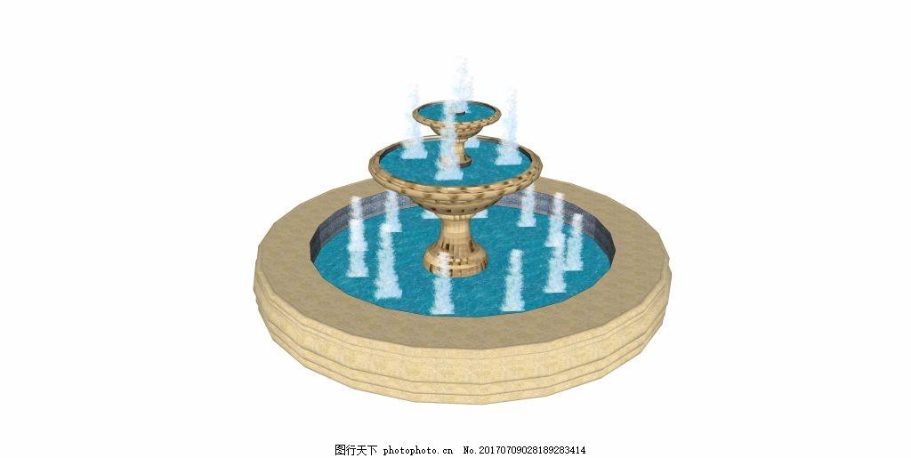 喷泉水池效果图,家居建筑 建筑效果图 空间设计 创意