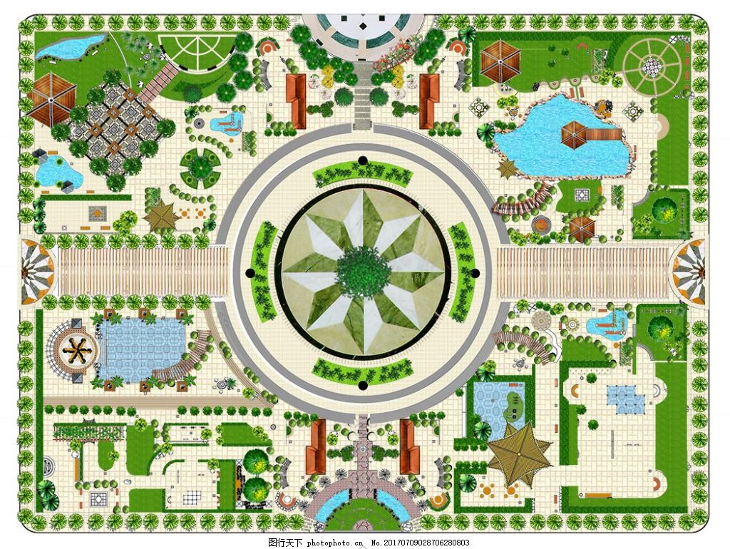 psd广场绿地效果图 psd素材 广场 平面图        小区 psd素材