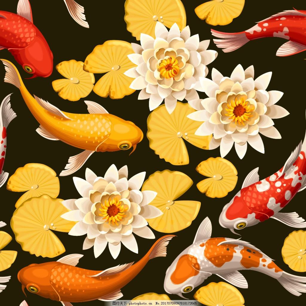 金色荷花和锦鲤背景 植物 荷花 莲花 金色 茶叶 动物 唯美 锦鲤 背景