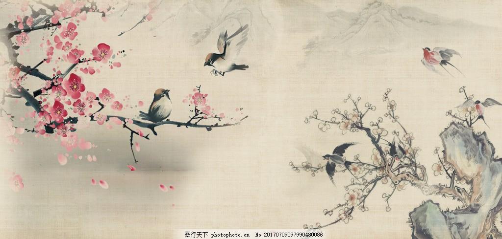 水墨风格背景墙设计 古风 经典 山水 梅花 桃花 燕子 风景 元素