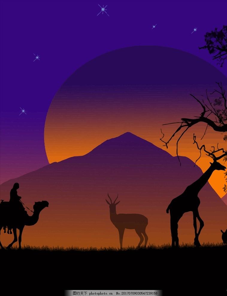 动物剪影,星空 夜晚 月亮 山峰 树木 草原 长劲鹿-图