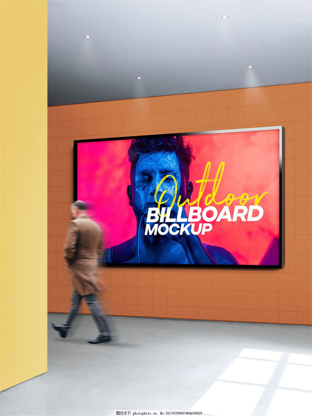 户外海报样机模板 户外海报模板 地铁海报样机 地铁场景 户外广告样机