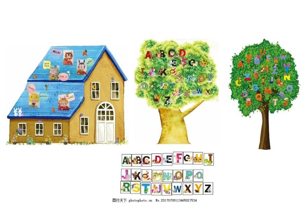 卡通 卡通动物字母 房子卡通 字母树 可爱小动物 矢量 设计 广告设计