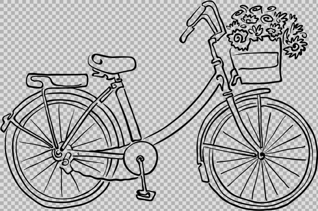 手绘自行车插画免抠png透明图层素材 共享单车 女式单车 男式单车