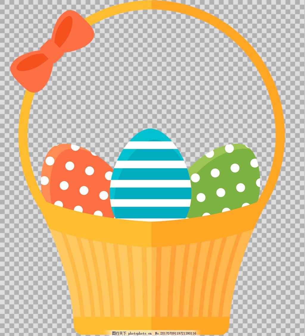 手绘彩蛋篮子插图免抠png透明图层素材
