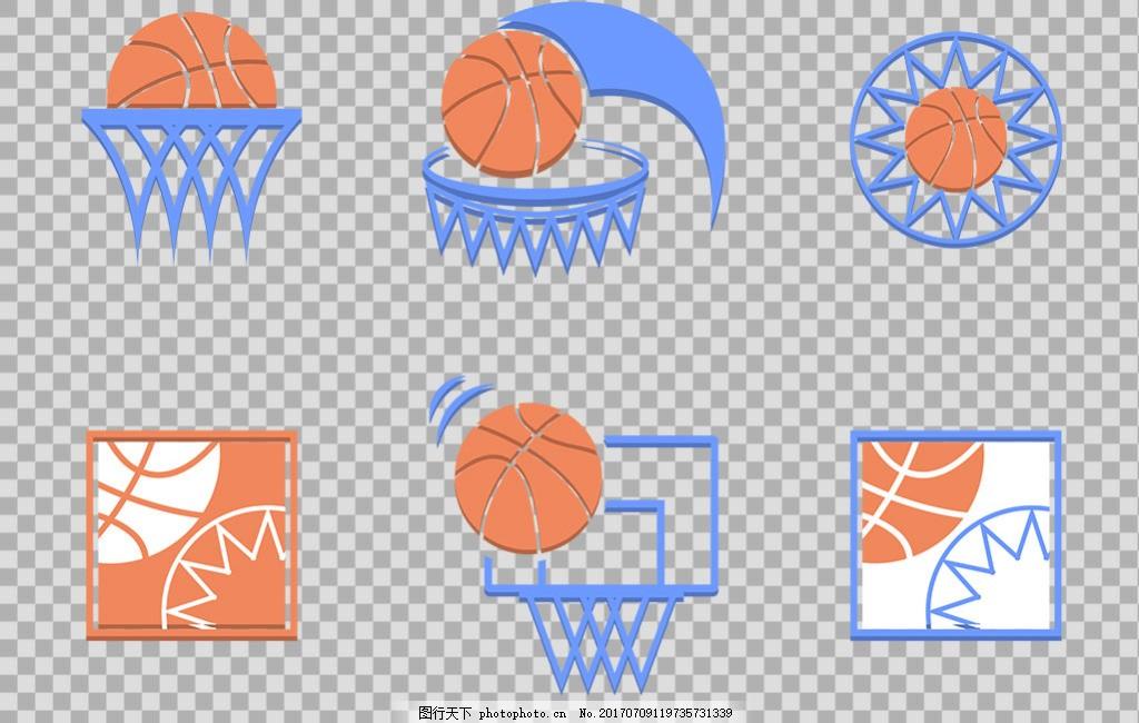 手绘篮球篮筐插图免抠png透明图层素材