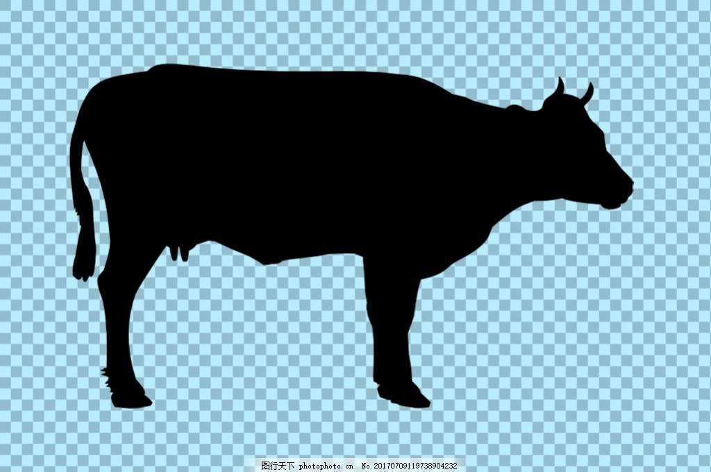 黑色奶牛剪影免抠png透明图层素材 家畜动物 可爱动物图片 家禽