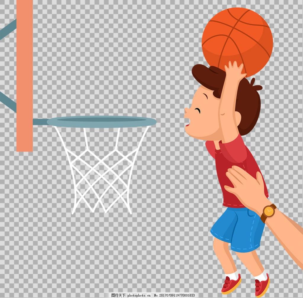手绘打篮球的小孩插图免抠png透明素材