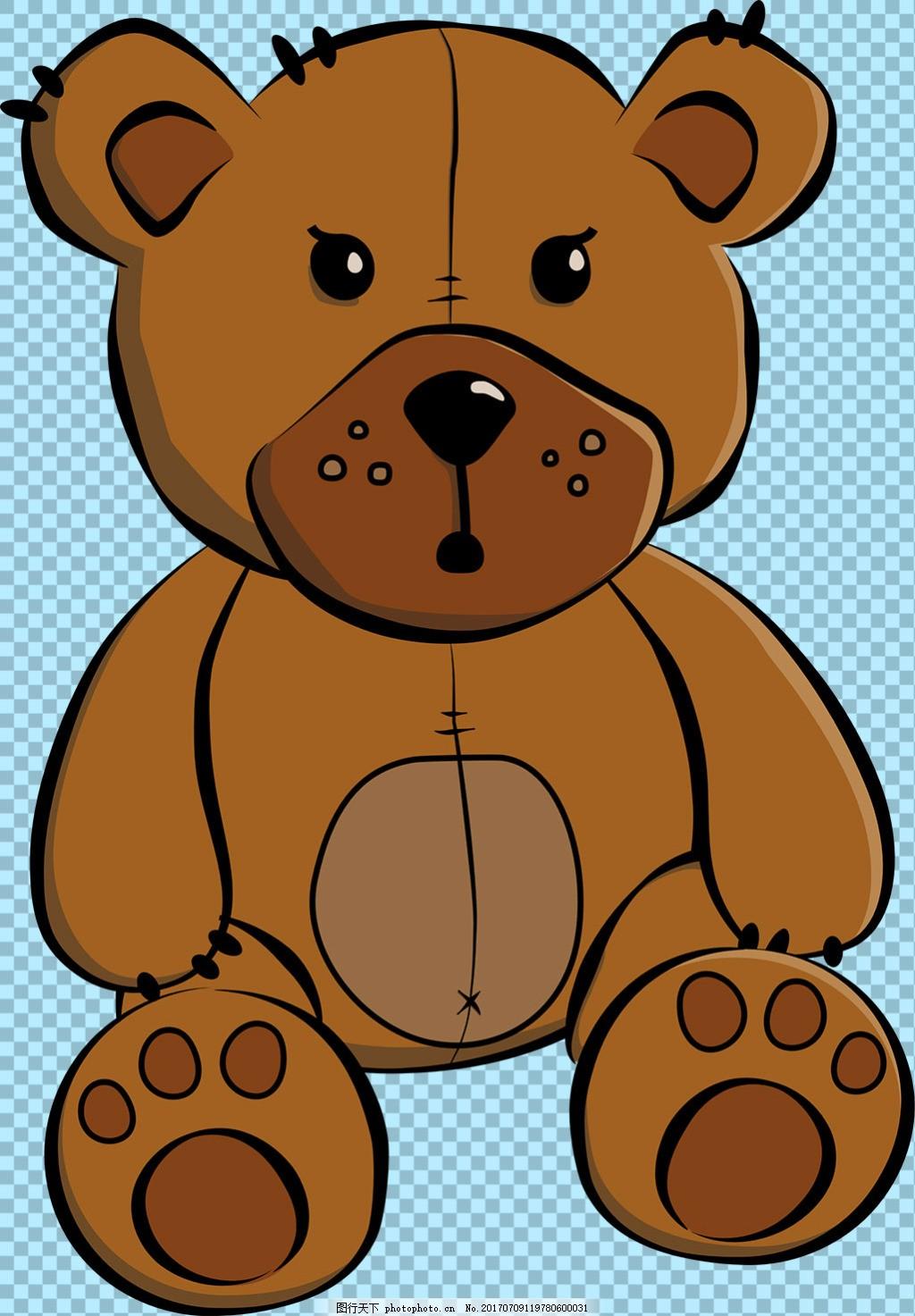 手绘棕色卡通熊图片免抠png透明图层素材